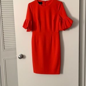 Orange/Red dress with bubble sleeves